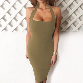 Club Sleeveless Backless Sexy One Piece Dress [11407006543]