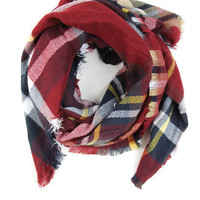 Campfire Cozy Blanket Scarf in Red
