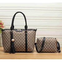 Gucci Women Leather Shoulder Bag Satchel Tote Handbag Crossbody Set Two Piece