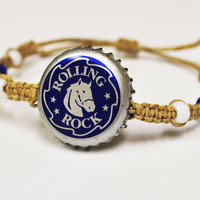 Blue and White Rolling Rock Beer Recycled Bottle Hemp Bracelet, unique jewelry, Indianapolis colts jewelry, football spirit, horse jewelry