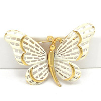 White Enamel Butterfly Pin Gold Tone Brooch Designer Shawl Scarf Pin Vintage Costume Jewelry Spring Summer Gift Idea Insect Open Work
