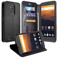 ZTE Max XL, ZTE Blade Max 3, ZTE Max Blue Case, Pu Leather Magnetic Fold[Kickstand] Wallet Cover with Card Slots - Black