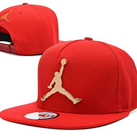 Fashion Golden Metal Michael Jordan Snapback Hats Baseball Caps (red)