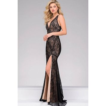 Black High Slit Sleeveless Jovani Dress 33939
