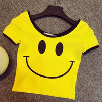 Fashion Smile Print Short Sleeve T-Shirt