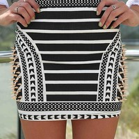 Black and White African Print Skirt with Gold Spike Detail