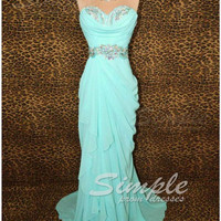 Cheap Custom Made A-line Sweetheart Ice Blue Chiffon Long Prom Dresses, Formal Dresses, Strapless Evening Dresses, Wedding Party Dresses