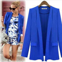 Autumn Winter Women Loose Slim Long Sleeve Business Casual Suit Outerwear Jacket a12922