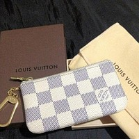 LV Louis Vuitton Stylish Zipper Key Pouch Clutch Bag Wristlet I