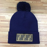 FENDI Autumn Winter Popular Men Women Warmer Embroidery F Letter Knit Hat Cap Navy Blue