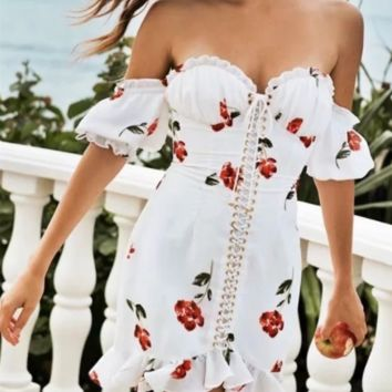 Spring word collar print ruffled slim straps bra style bag hip sexy dress