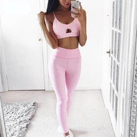 Fitness Yoga 2 Piece Set New Pink Solid Crop Top+Long Pant Athleisure Women Suit Gym Sports Bra+Legging Two Piece Set Sportswear