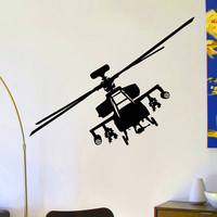 Helicopter Wall Decal Vinyl Sticker Army Military Attack Wall Decor Home Interior Design Art Mural Boys Room Kids Bedroom Dorm Z759