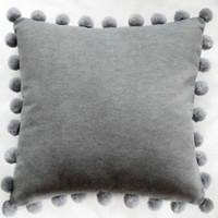 Pom Pom Cushion - Grey
