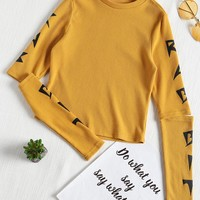 Graphic Open Long Sleeve Ribbed Tee