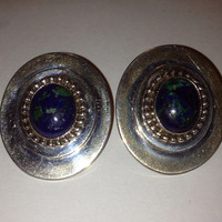 Marian Nez Azurite Sterling Earrings Navajo Silver Vintage Tribal Southwestern Jewelry New Christmas Holiday Birthday Gift 925