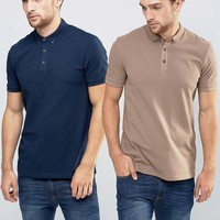 ASOS Pique Polo 2 Pack in Navy and Beige