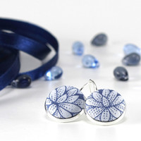 Water Lily - Silver Toned Leverback Earrings - Blue Ice Flower - Winter Fabric Covered Buttons Nickel Free Jewelry