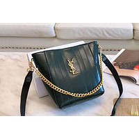 YSL 2019 new burst crack female paragraph shoulder bag bucket bag Green