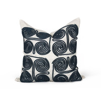 Suez Swirls Pillow in Blue design by Bliss Studio
