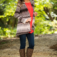 In Flux Cardigan, Brown/Cream