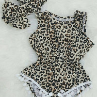 Baby girl outfit leopard jumpsuit romper pom pom romper with headband big bow birthday outfit jumpsuit 1st birthday