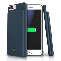DCCK3SY iPhone 8 Plus / 7 Plus / 6s Plus / 6 Plus Battery Case, LoHi 7000mAh Capacity Support Headphones Ultra Slim Extended Battery Rechargeable Protective Portable Charger 55' Navy Blue