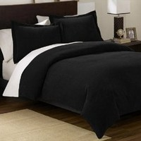 Chezmoi Collection 3 Pieces Solid Black Soft Micro Suede Comforter with Shams Set Queen Size Bedding