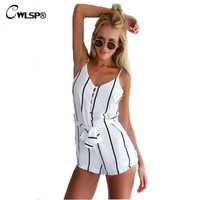 2016 New fashion women Playsuit sexy V-Neck striped jumpsuits  ladies clothes beach shorts Bow summer Rompers QZ427