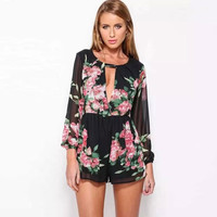 Floral Plunging Neck Long Sleeve Romper