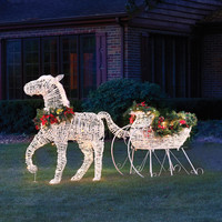The Lighted Holiday Horse Drawn Sleigh - Hammacher Schlemmer