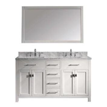 Virtu USA Caroline 60 in. W x 36 in. H Vanity with Marble Vanity Top in Carrara White with White Square Basin and Mirror MD-2060-WMSQ-WH at The Home Depot - Mobile