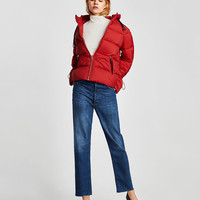 QUILTED JACKET WITH HOOD Red - M