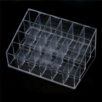 Toopoot's vestidos 2017 Crazycity Generic 24 Stand Trapezoid Clear Lipstick Lotion Makeup Cosmetic Case Box Holder #P5