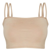 Basic Nude Jersey Double Strap Crop Top