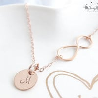 Personalized Infinity Necklace with initials Mothers bracelet Rose Gold Initial necklace Family initials Sisters Best friends Grandma Gifts