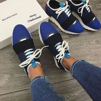 Balenciaga Fashion Race Runners Women Men Casual Shoes Blue
