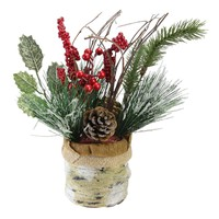 """12"""" Iced Pine Cones  Sprigs and Berries in a Burlap Basket Christmas Decoration"""