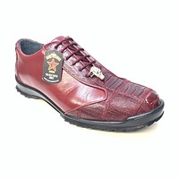 Los Altos Wine Red Ostrich Leg Lace Up Sneakers