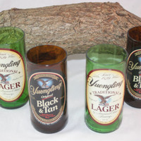 Drinking Glasses from Recycled Yuengling Beer Bottles, 8 oz, Unique Barware, Unique Gift, ONE glass