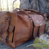 Vintage Brown Mens Leather Travel Duffle Overnight Bag Luggage Suitcase Vtg