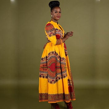Casual 2017 Boho african Print Long dresses for women's dashiki 3/4 Sleeve Dresses ladies african clothing Robe Femme 10948