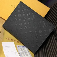 Louis Vuitton LV new retro black embossed men and women briefcase cosmetic bag
