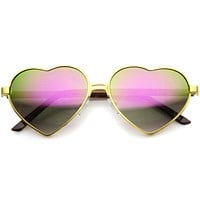 Women's Cute Festival Heart Shaped Mirror Lens Metal Sunglasses A107