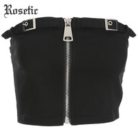 Rosetic Gothic Punk Short Tank Top Black Zipper Skinny Wrapped Chest Bra Darkness Street Cool Girl Nightclub Goth Crop Tank Tops