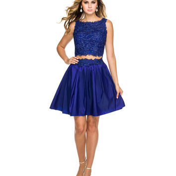 Royal Floral Lace Two Piece Dress 2015 Homecoming Dresses