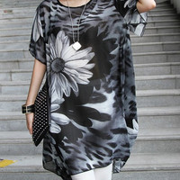 Floral Printed Chiffon Dress-Top