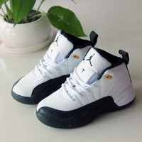 Air Jordan 12 Retro Black White TAXI Kid Shoes Child Sports Shoes - Best Deal Online