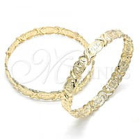 Gold Layered 07.160.0001.06 Set Bangle, Hugs and Kisses Design, Polished Finish, Golden Tone (10 MM Thickness, Size 6 - 2.75 Diameter)