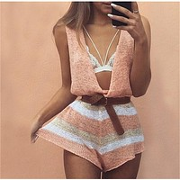 2106 Women Playsuit Knitted Jumpsuit Sexy Overalls Rompers Womens Jumpsuit V Neck Sleeveless Vest Short Romper Lady Bodysuit
